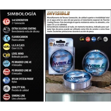 Linea Invisible Yuky 0.18mm 2000mtrs 4.060kg